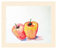 Apple Wall Decor Kitchen Twin Cashew Fruits Cashews Nuts Nut Art Fruit Painting Watercolor