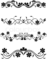 Decorations Design Vintage floral decorations isolated on white for design Stock 2