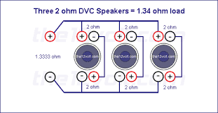subwoofer wiring diagrams for three 2 ohm dual voice coil speakers three 2 ohm dvc speakers 1 34 ohm load