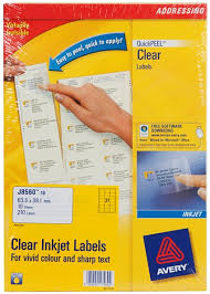Avery Address Lables Avery Clear Quick Peel Inkjet Addressing Labe Whsmith