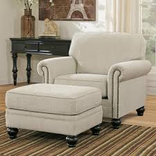 chair with ottoman. signature design by ashley milari - linen transitional chair with rolled arms \u0026 ottoman o