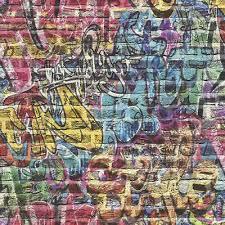 3d effect brick wall graffiti wallpaper