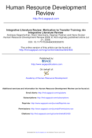 A Human Resource Inventory Is Designed To Reveal Whether Pdf Motivation To Transfer Training An Integrative
