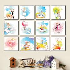 free shipping 12 piece canvas wall art children room decoration comic canvas painting colorful love story on wall art toddler room with free shipping 12 piece canvas wall art children room decoration