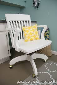 wooden swivel desk chair. New Wheels, A Pillow, And Fresh Coat Of White Dove Paint Give This Wooden Swivel Office Chair Lease On Life. Desk D