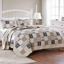quilt set king size tan blue plaid