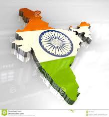 3D Flag Map Of India Illustration ...