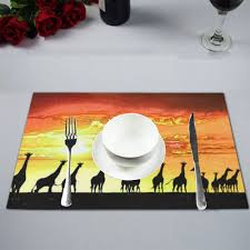 Mypop Giraffe Under Sunset Kitchen Table Mat Placemats For Dining Table 12x18 Inches
