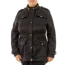 junior plus size anorak jacket with quilted faux leather shoulders