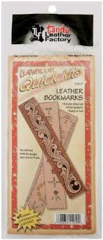 leathercraft quick kits bookmarks the leather factory this kit includes 3 real leather bookmarks bookmarks are a blank tan color