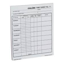 Time Sheets Collins No 11 Time Sheet Pad 100 Sheets Officemax Nz