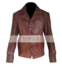70 s style brown leather jacket for men