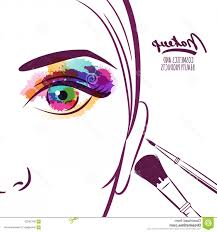 vector ilration of young woman face with colorful eye and makeup brushes ilration