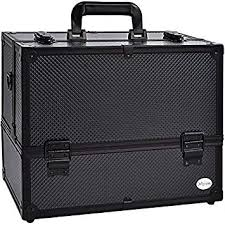 amazon makeup train case professional adjule 6 trays cosmetic cases makeup storage organizer box with lock and partments 14 inch large black