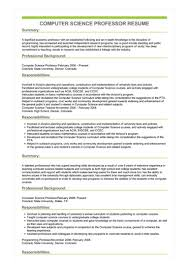 Sample Professor Resume Sample Computer Science Professor Resume
