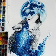 оригинальный универсальный эскиз тату волки 140