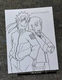 Naruto x Hinata Lovely Line art by @_artvirtuoso on Instagram! : Naruto