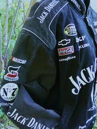 nascar jacket black leather jack daniels 7 chevy w poly fill lining warm
