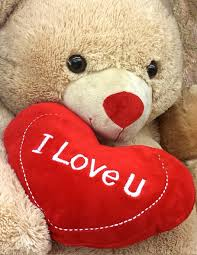 brown bear holding i love u pillow ...