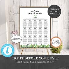 Wedding Seating Chart Table Assignment Poster Reception Dinner Name Board Find Seat Plan Birthday Anniversary Shower Wild Botanicals Pcwbws