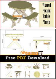 round picnic table plans free pdf