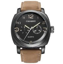 [34% OFF] <b>Cagarny 6833 Men's Leather</b> Quartz Watch | Rosegal