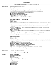 Junior Technician Resume Samples Velvet Jobs