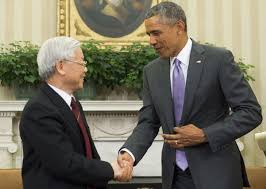 oval office july 2015. US President Barack Obama (R) And Vietnamese General Secretary Nguyen Phu  Trong Shake Hands Oval Office July 2015 O