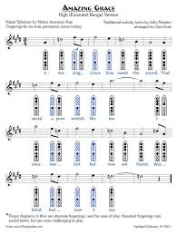Bagpipe Finger Chart Amazing Grace Amazing Grace 6 Hole Naf Tablature Flute Sheet Music