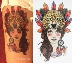 4632 руб девушка с пантера головы леопарда татуировки 21x15 см размер пикантные