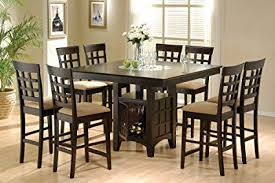 coaster home furnishings 9 piece counter height storage dining table w lazy susan chair
