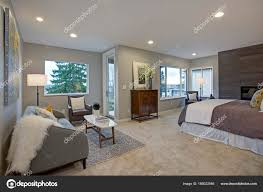 upstairs stunning master bedroom with reading nook stock photo