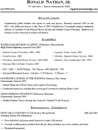 Student Resume For College Applications College Admission Resume