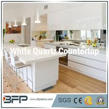 ktichen countertop of white quartz stone with eased edge treatment pictures photos