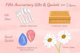 ilration of fifth anniversary gifts and symbols