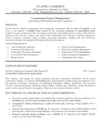 Project Manager Resume Construction