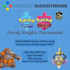 NintendoGloucestershire - Come and take part in an Online Pokémon Sword &  Shield Tournament on Saturday 30th May! Prepare to take part in double  battles where you can only use Ground, Rock