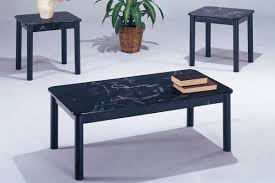 Elegant Picture Of 3 Piece Coffee Table Set, Black Faux Marble Top Photo Gallery