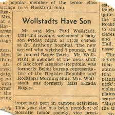 Rockford My Birth Announcement In The Newspaper A Short