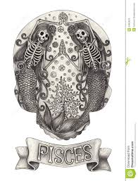 Pisces Drawing Design Zodiac Skull Pisces Hand Drawing On Paper Stock