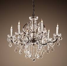 19th c rococo iron clear crystal round chandelier 28