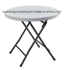 portable round steel hdpe folding table