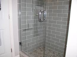 smoke glass 4 x 12 shower walls with our sliced pebble tile