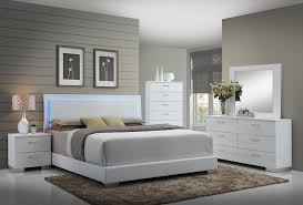 FELICITY GLOSSY WHITE WITH LED LIGHTING King BED Quality Furniture Delectable Glossy White Bedroom Furniture