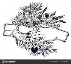 пара держаться за руки с рамой из лилий векторное изображение