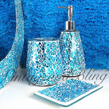 Ladybug Bathroom Accessories Blue Sparkle Crackle Glass Bathroom Accessory Set Tumbler