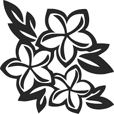 白黒の花のイラスト 白黒3輪 Floral Silhuette 花 シルエット