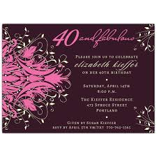 40th Birthday Invitations Andromeda Fabulous Pink 40th Birthday Invitations