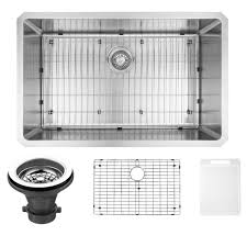 vigo undermount stainless steel 30 in single bowl kitchen sink with grid and strainer vgr3019ck1 the home depot