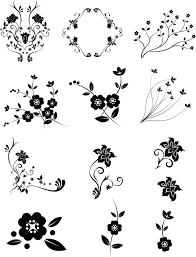 商用可お花のクリップアートシルエットベクター素材パックeps